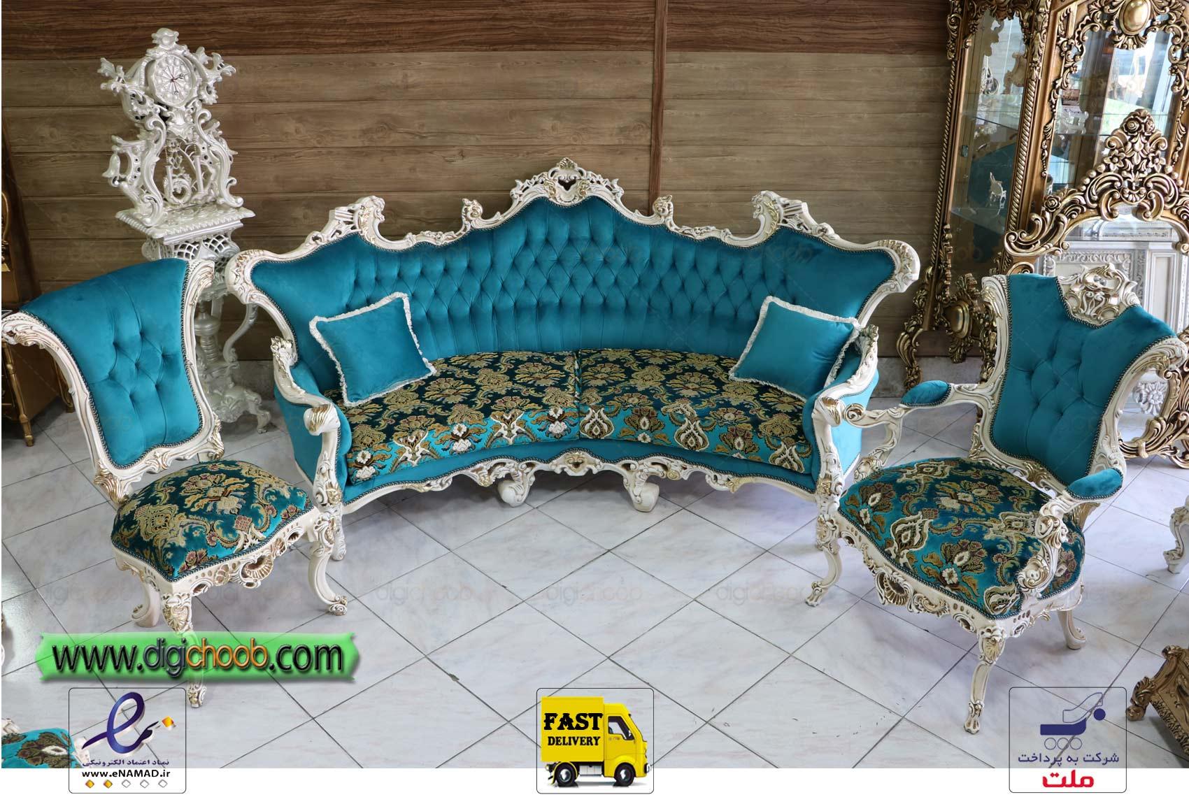 کاناپه گرد مبل سلطنتی امپراطور آماده ارسال برای منزل مشتری